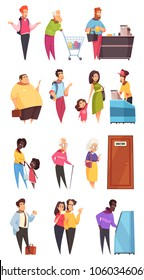 People characters in queues in bank supermarket at doctors office door 4 isolated lines vector illustration