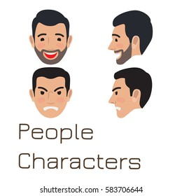 People characters. Sad and happy man avatar user pic. Vector front and side view of upset and laughing person. Male head with disappointed and smiling facial expression. Adult profile icon vector