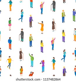 People Characters Seamless Pattern Background on a White Isometric View Different Types Social Man and Woman for Report, Research. Vector illustration