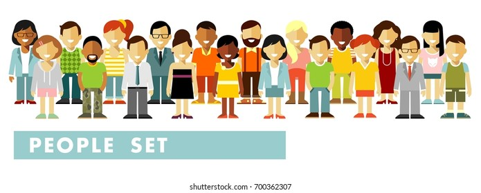 People characters set in flat style isolated on white background. Different people smiling characters stand in a row