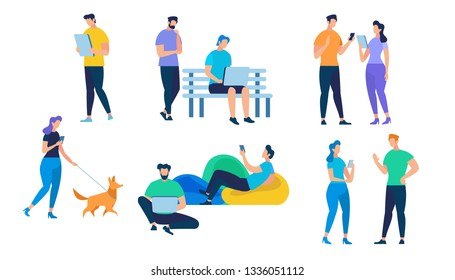 People Characters Set Isolated on White Background. Talking Young Couple, Girl Walking with Dog, Guy Working on Laptop, Lounging Man Using Gadget. Communication, Cartoon Flat Vector Illustration.