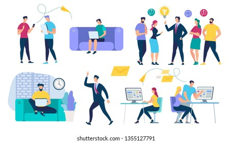People Characters Set. Social Network and Teamwork Concept. Communication Systems and Digital Technologies. Networking and Human Communication. Men and Women Talking. Cartoon Flat Vector Illustration.