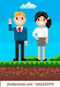 People characters smiling on nature vector, man and woman pixelated personage landscape with grass and soil, cloud in sky square graphics pixel art, business 8 bit game