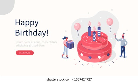 People Characters standing near Birthday Cake and Celebrating. Woman and Man holding Gift and Balloons. Friends Enjoying the Party. Happy Birthday Concept. Flat Isometric Vector Illustration.