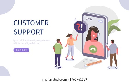 People Characters talking with Customer Support. Woman and Man Ask Questions and receive Answers. Online Support Call center. Frequently Asked Questions Concept. Flat isometric Vector Illustration.