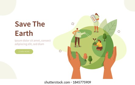 People Characters trying to Save Planet Earth. Woman and Man Planting and Watering Trees, Measuring Planet Temperature. Global Warming and Climate Change Concept. Flat Cartoon Vector Illustration.