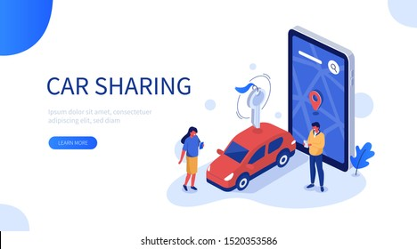 People Characters Using Car Sharing Service for City Transportation. Man and Woman Picking up Carsharing Vehicle. Modern Auto Rental and Shared Mobility Concept.  Flat Cartoon Vector Illustration.