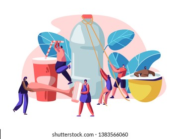 People Characters Using Plastic Things. Opening Water Bottle, Drinking Beverage Cup, Carrying Shaving Machine, Sitting in Yogurt Container, Human Products Consuming. Cartoon Flat Vector Illustration