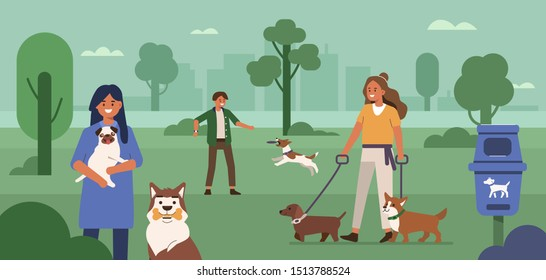 People characters walking and playing with dogs in park. Man and woman cleaning up after dog and picking up waste in public waste station. Human and pet concept. Flat cartoon vector illustration.