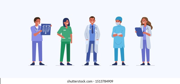 People characters work in Hospital. Nurse, doctor therapist, surgeon and other medical staff standing together. Male and female medical characters set. Flat cartoon vector illustration.