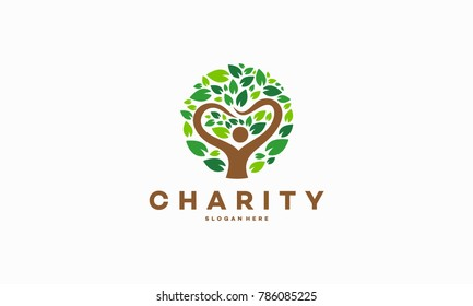 People Charity Logo designs Concept with Tree symbol, Circle Love Tree logo designs vector illustration