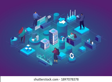 People with charts and graphs interact with each other and analyze statistics. Software, web development, programming. Technology process of Software development concept. Vector isometric illustration