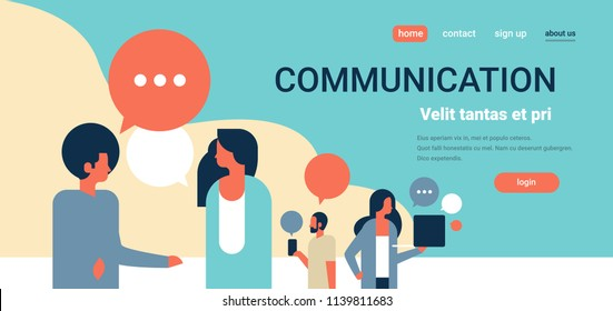 people chat bubbles communication speech dialogue man woman character portrait horizontal copy space flat vector illustration