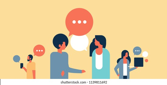 people chat bubbles communication speech dialogue man woman character background portrait horizontal flat vector illustration