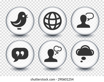 People and Chat Communication on Transparent Round Buttons