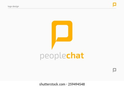 People chat logo template, brand, branding, logotype, company, identity, Vector illustration