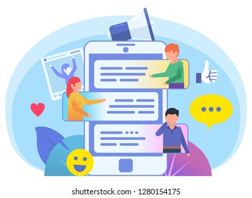 People chat, talk in messenger. People talk, communicate by smartphone. Poster for social media, web page, banner, presentation. Flat design vector illustration