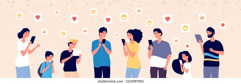 People chatting online. Adult and kids with gadgets in social media always adding followers. Internet addiction vector concept