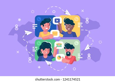 People chatting online together flat poster. Men and women changing messages video data and calling to each other via internet apps vector illustration. Social media concept