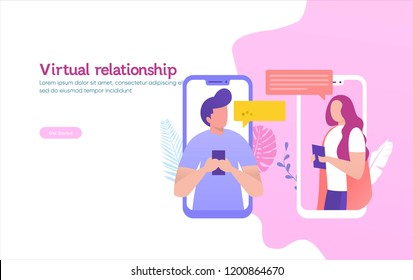 People chatting in the smartphone screen, virtual relationship vector illustration concept ,  can use for, landing page, template, ui, web, mobile app, poster, banner, flyer