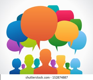 People Chatting. Vector illustration of a communication concept, relating to feedback, reviews and discussion.