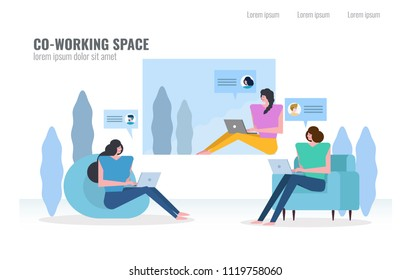 People chatting and working in Co-working space. social media and commucation concept. flat character design vector illustration