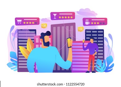 People checking cafe, bar and retail shop rates and ranks with smartphones. Intelligent service systems, smart navigation, IoT and smart city concept, violet palette. Vector illustration on background