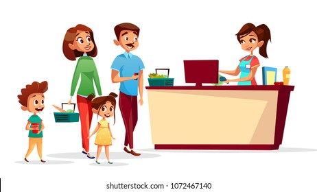 People at checkout counter vector illustration of family with children in supermarket with shopping carts. Flat isolated cashier scanning barcodes or man and woman paying for food purchase