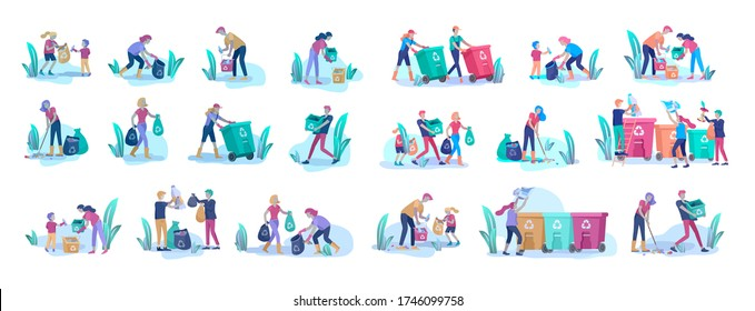 people and children Recycle Sort organic Garbage in different container for Separation to Reduce Environment Pollution. Family with kids collect garbage. Environmental day vector cartoon illustration