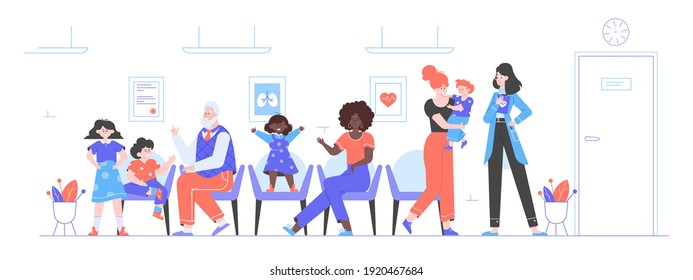 People with children are sitting in the lobby of the clinic. Queue at the hospital to see the doctor. Pediatrics. Waiting room. Vector flat illustration.