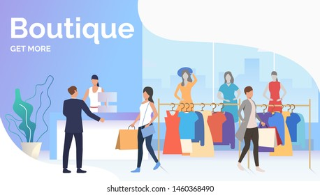People choosing and buying clothes in boutique. Fashion outlet, boutique concept. Poster or landing template. Vector illustration for topics like business, shopping, sale