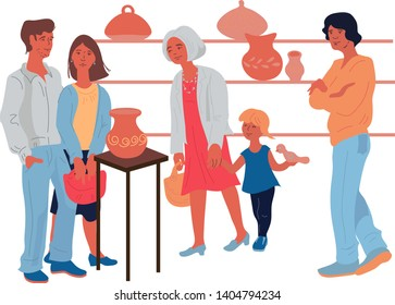 People choosing handmade ceramic products and utensil at the pottery shop flat vector illustration isolated on a white background. Banner to illustrate craft pottery master classes and stores.