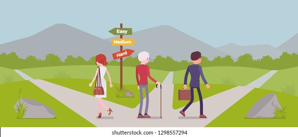 People choosing a path, way, life direction. Three people pick out alternatives between easy, medium, hard road pointers, decide on possibilities, management and guidance metaphor. Vector illustration