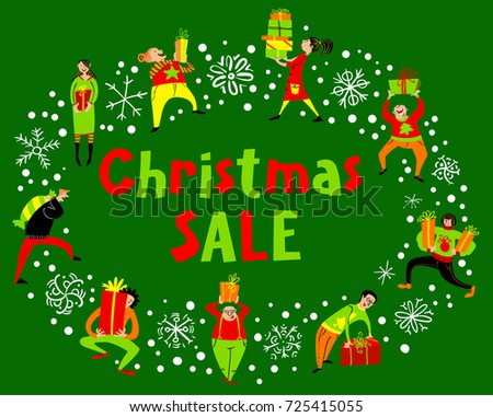 people with christmas gifts christmas sale lettering group of people in rush time in