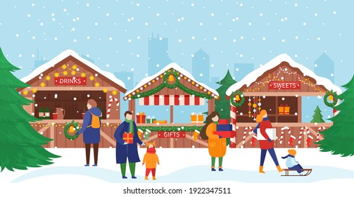 People in Christmas market vector illustration. Cartoon crowd of man woman and children characters walking next to stalls or kiosks with sweet gifts and drinks, festival Christmas market background