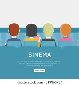 People in cinema hall, back view. Four young men and a woman sitting in a chair facing a blank screen. Cinema background. Website design template. Vector illustration in flat style design.