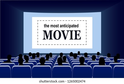 People in the cinema hall vector illustration.