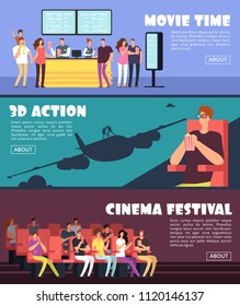 People in cinema, movie horizontal banners. Family and couples date at 3d theater vector concept. Film movie theater, entertainment banner illustration