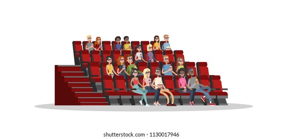 People in the cinema theater watching movie in 3d glasses, eating pop corn and drinking soda. Happy friends spending weekend watching film. Isolated flat vector illustration