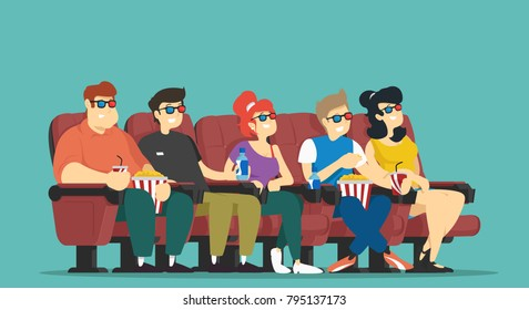People at cinema. Vector illustration.