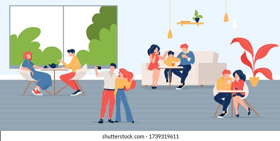 People in city cafe flat color vector illustration. Friends meeting in coffeehouse. Colleague lunch break. Family in restaurant 2D cartoon characters with coffeeshop interior on background