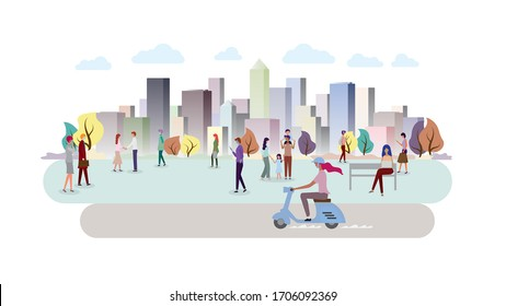People in the city. Color cityscape ecology.  People using mobile internet technology. Building panorama background. vector illustration.