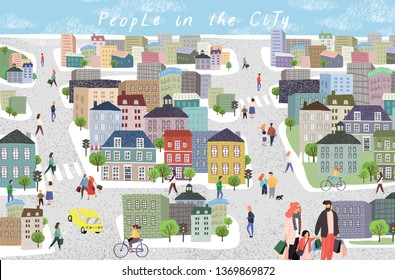 People in the city. Cute cityscape vector illustration with people, cars, buildings, houses and trees. Urban panorama drawing