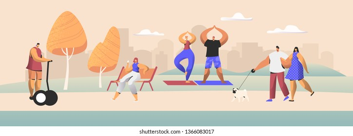 People City Dwellers Outdoors Activity. Male and Female Characters Spend Time in Public Park Walking with Pet, Driving Hoverboard, Eating Ice Cream, Doing Exercises. Cartoon Flat Vector Illustration