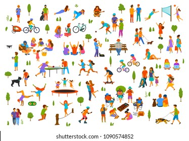 people in the city park nature outdoor scenes constructor. man woman children adults family friends walk with dog, talk relax read book chill dance, play volleyball, bocce, table tennis, bbq grill set