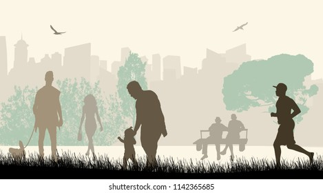 People in a city park silhouettes on beautiful landscape, vector illustration