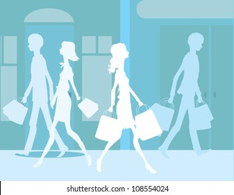 People in City Shopping