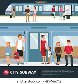 People in city subway inside train and waiting at station flat vector illustration