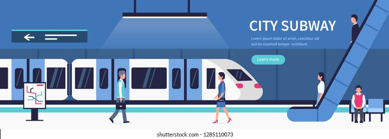 People in city subway. Passengers at subway station platform.  Flat style vector illustration.