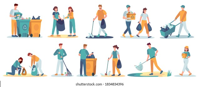 People clean up garbage. Volunteers gathering trash recycle. Characters cleaning environment litter. Waste collectors vector set. People collect trash and rubbish, cleaning environmental illustration